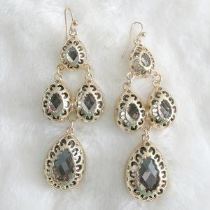 Gold & Crystal Chunky Drop Earrings